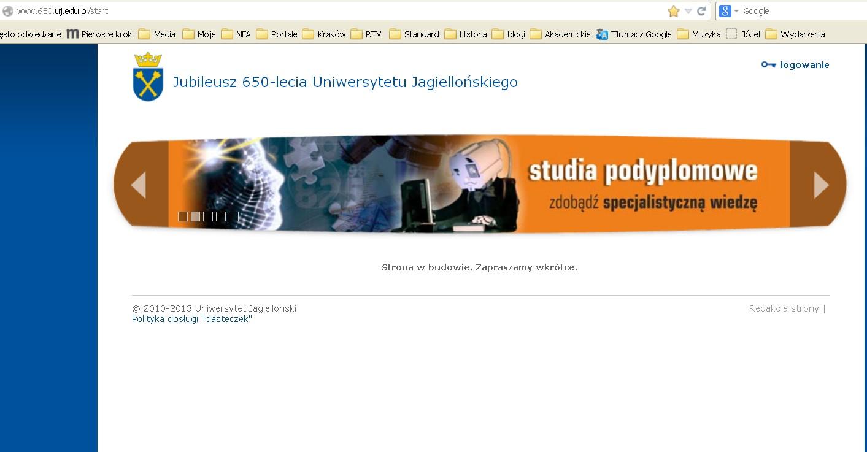 strona  UJ w budowie - 19 stycznia 2014 r.