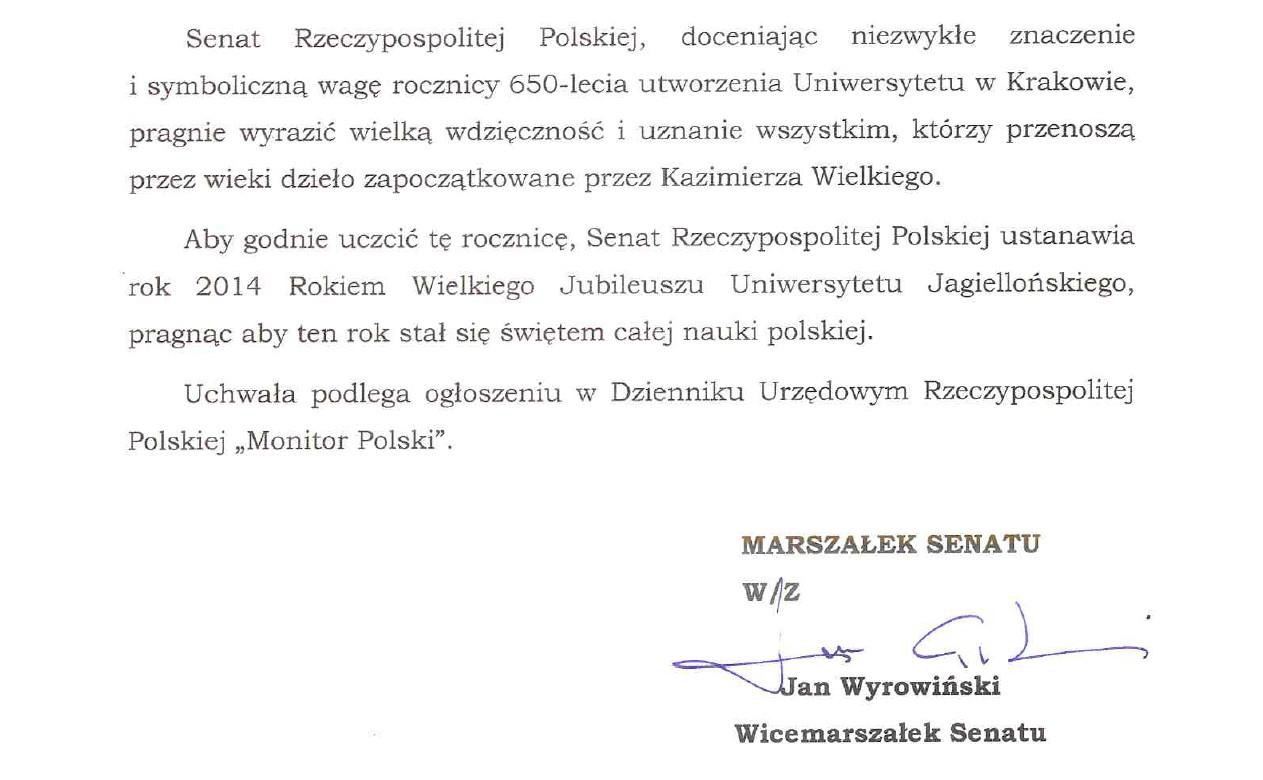 Uchwała Senatu RP 2