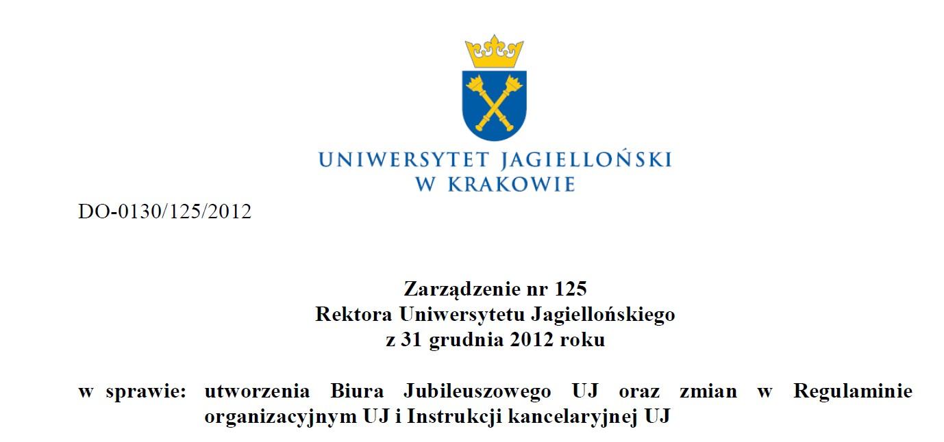 zarządzenie - Biuro Jubileuszowe