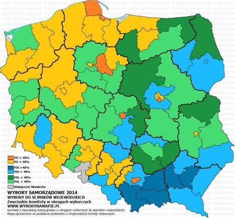 Wybory samorządowe 2014 mapka zwycięzców