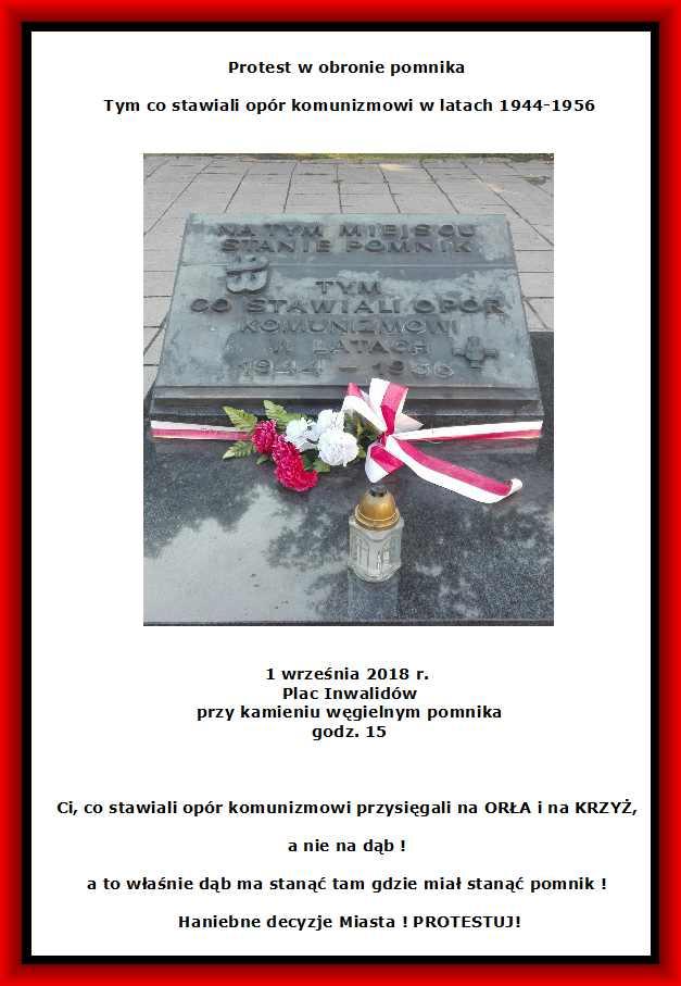 plakat -Protest 1 września Plac Inwalidów